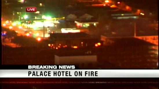 Firefighters battle flames at abandoned hotel