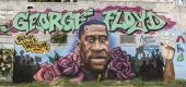 A George Floyd mural on a building in 3rd Ward in Houston, TX. (Getty)