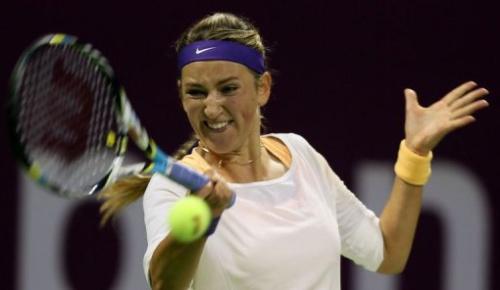 La tenista Victoria Azarenka, en la semifinal de Catar este 16 de febrero de 2013, contra la polaca Agnieszka Radwanska.