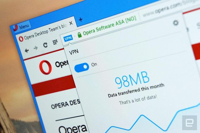 Opera is the first big web browser with a built-in VPN