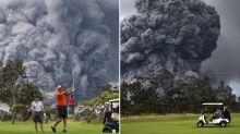 Incredible photos show golfers playing through Hawaii volcano