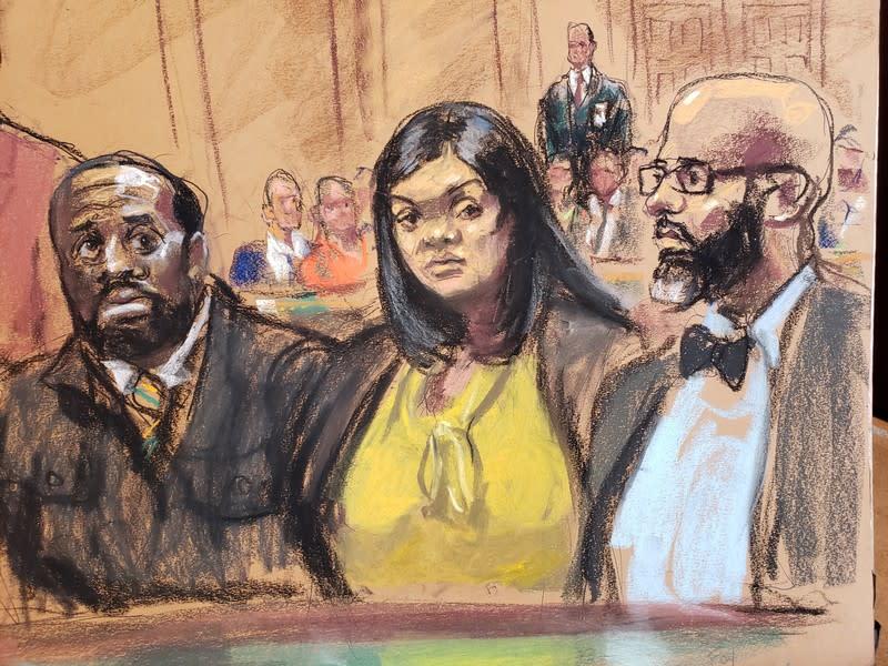 Michael Thomas, Tova Noel and lawyer Jason Foy in court