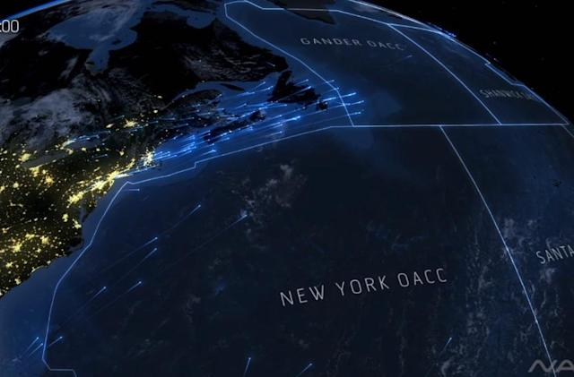 This is what a day's worth of transatlantic air travel looks like (video)