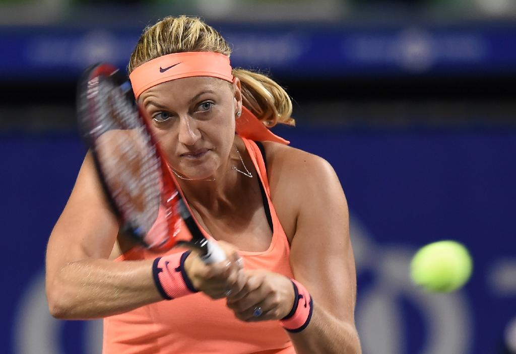 Petra Kvitova of the Czech Republic beat American Madison Brengle 6-3, 6-3 in their first round match at the Pan Pacific Open in Tokyo on September 20, 2016