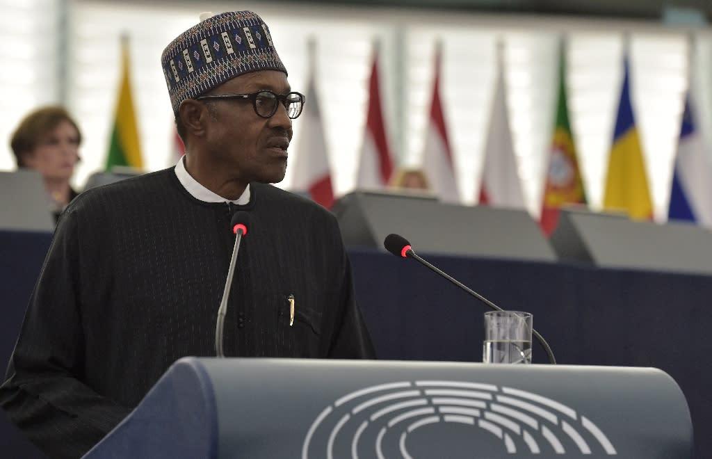 Nigerian President Muhammadu Buhari addresses to the plenary assembly at the European Parliament, in Strasbourg, eastern France, on February 3, 2016 (AFP Photo/Patrick Hertzog)