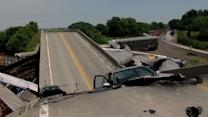 Two Freight Trains Collide Collapsing Highway Overpass