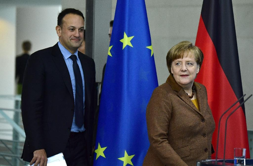 German Chancellor Angela Merkel and Irish Prime Minister Leo Varadkar said the Northern Ireland border issue must still be resolved (AFP Photo/Tobias SCHWARZ)