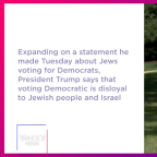 Trump says voting Democratic is disloyal to Jews and Israel