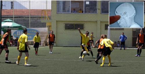 Children play on the field where an unlucky keeper was struck by a bullet (avaz.ba)