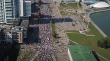 Massive Crowd of Protesters Marches Through Minsk