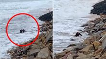 Man almost washed out to sea trying to take photos of beach erosion