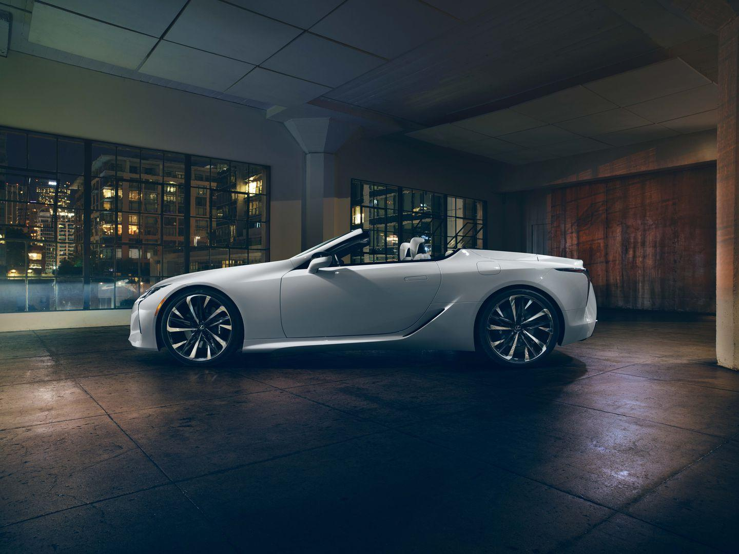 <p>Like the hardtop LC, the topless convertible has a rakish stance and voluptuous body contours.</p>
