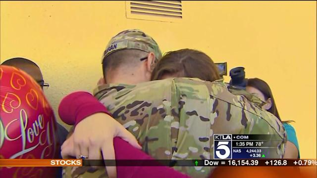 SoCal Military Dad Suprises 3 Kids at School on Valentine`s Day
