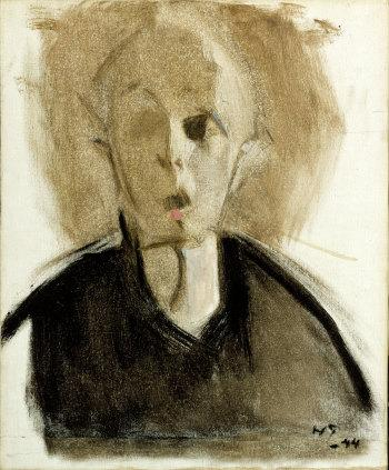 "Helene Schjerfbeck, ""Self-portrait with red spot"" (1944)"