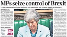 'MPs take control of Brexit': How the newspapers' front pages see Theresa May's Commons defeat