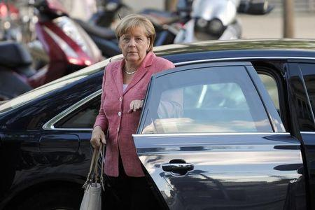 German Chancellor Angela Merkel arrives for a meeting at the lower house of parliament in Berlin, Germany, September 6, 2016. REUTERS/Stefanie Loos