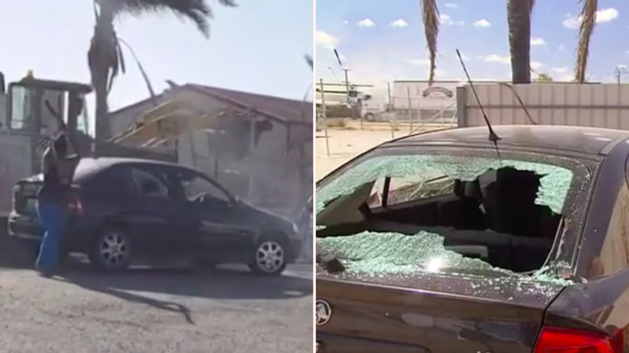 Car smashed with metal bar in violent road rage attack