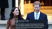 New York Times Tweet About Prince Harry, Meghan Markle Coming To Canada Gets Roasted