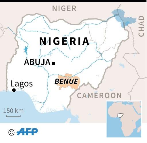 Map of Nigeria locating Benue state