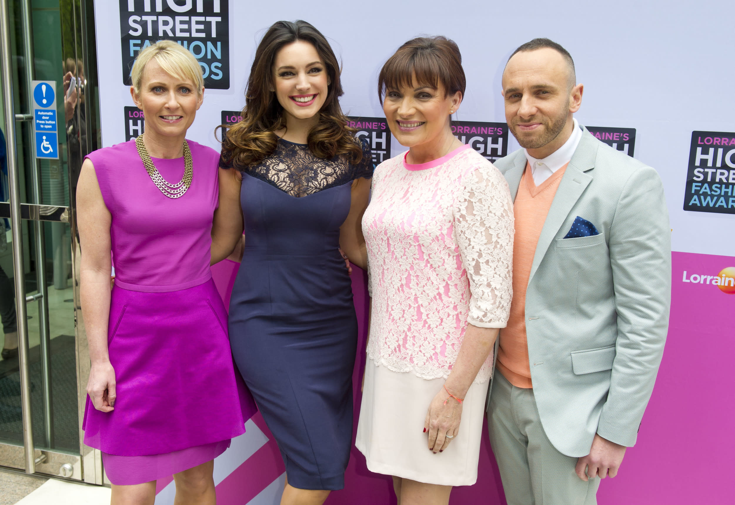 Ali Hall, Kelly Brook, Lorraine Kelly and Mark Heyes arriving at Lorraine's High Street Fashion Wards, at West Wintergarden in Canary Wharf, London.