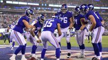 Golden Tate trolls Eli Manning with flip cup touchdown celebration