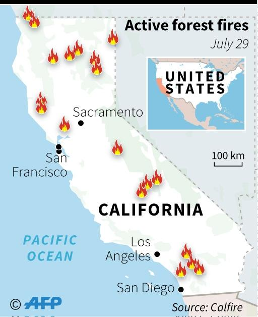 A map of California updating with the sites of major forest fires (AFP Photo/Li TONGTONG )