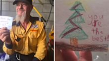 Firefighters battling Queensland blaze presented with adorable gifts from children