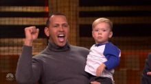 Alex Rodriguez gets beat by a 1-year-old in a baseball batting contest