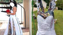 Second-hand camo wedding dress raises eyebrows