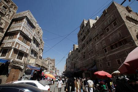 People shop at the old market in the historic city of Sanaa