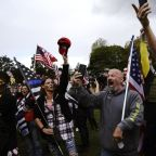 Far-right Portland afternoon rally spurs anxiety, but fewer than expected show up