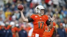 Watch Josh Allen show off his arm strength, throwing 50 yards from his knees