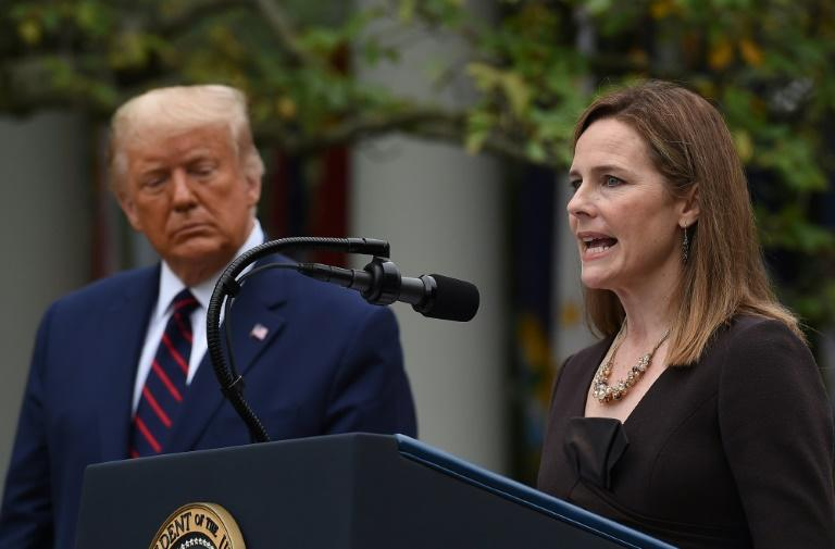 Judge Amy Coney Barrett speaks after being nominated to the US Supreme Court by President Donald Trump