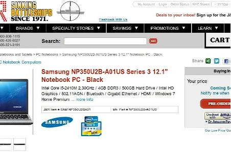 Samsung Series 3 and new Series 9 available for pre-order at J&R