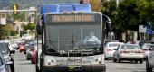 "Public bus with a sign that reads, ""No mask, no ride."" (Ben Hasty/MediaNews Group/Reading Eagle/Getty Images)"
