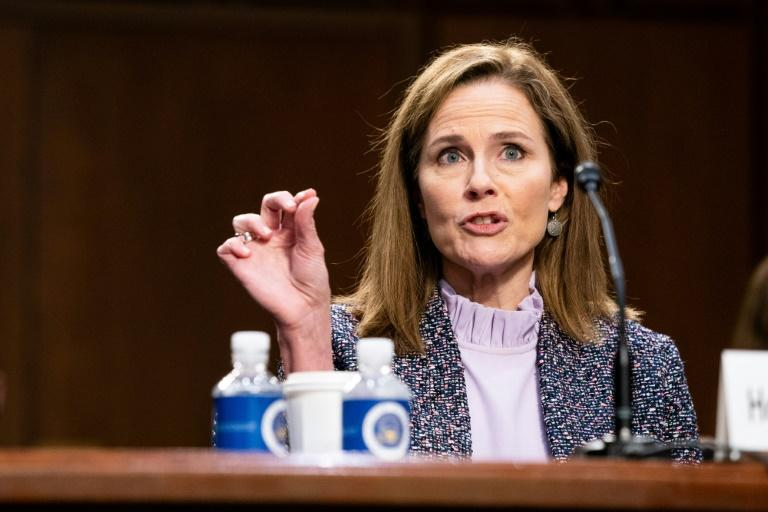 President Donald Trump's Supreme Court nominee Judge Amy Coney Barrett testifies before the Senate Judiciary Committeee in her confirmation hearings