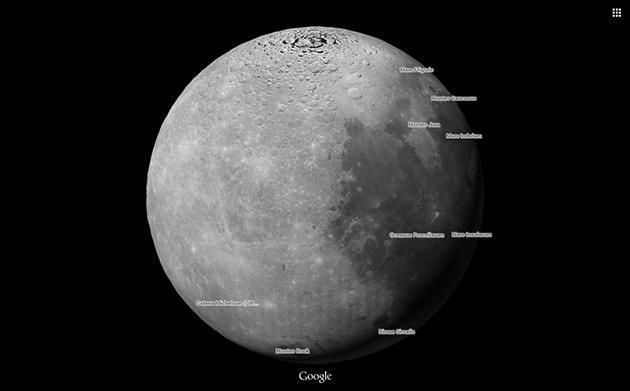 Explore the moon and Mars with Google Maps