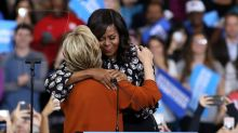 Michelle Obama stumps with Hillary, Pence in plane scare
