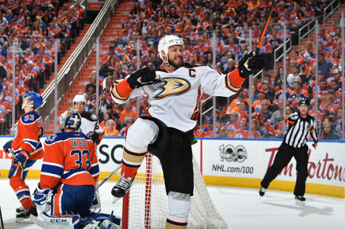 EDMONTON, AB - MAY 3: Ryan Getzlaf #15 of the Anaheim Ducks celebrates after a goal in Game Four of the Western Conference Second Round during the 2017 NHL Stanley Cup Playoffs against the Edmonton Oilers on MAY 3, 2017 at Rogers Place in Edmonton, Alberta, Canada. (Photo by Andy Devlin/NHLI via Getty Images)