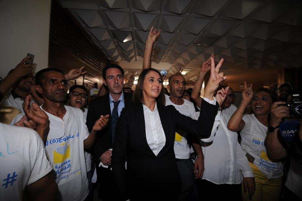 Nabila Mounib, secretary general of Morocco's Unified Socialist Party (PSU), gestures during a party meeting in Rabat on October 4, 2016, ahead of the parliamentary election (AFP Photo/)