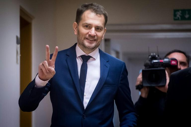 Igor Matovic, the leader of Slovakia's centre-right OLaNO party, is expected to try and form a new government after a stunning election win (AFP Photo/VLADIMIR SIMICEK)