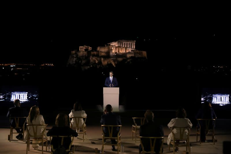The ancient Acropolis hill is illuminated with new revamped, detailed lighting system, in Athens