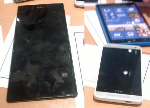 HTC M4 possibly spotted next to two monstrosities: alleged Nokia Lumia 1030 and Sony 'Togari'