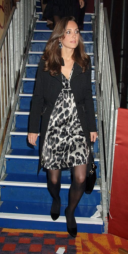 Kate attended an afterparty following the opening night of Afrika Afrika, wearing an animal print dress.