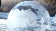 Mesmerizing moment bubble freezes over amid dropping temperatures