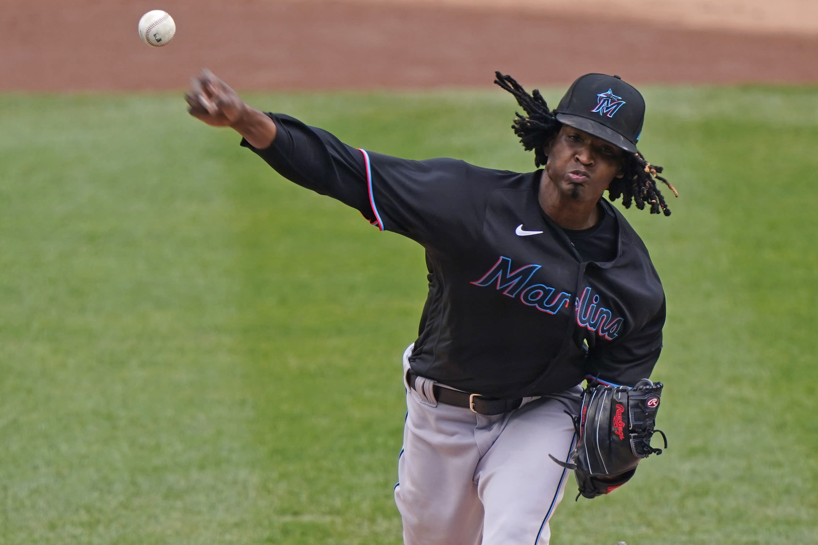 Miami Marlins starting pitcher Jose Urena delivers during the first inning of a baseball gam against the New York Yankees, Sunday, Sept. 27, 2020, at Yankee Stadium in New York. (AP Photo/Kathy Willens)