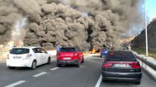 Catalan Separatists Block Road With Burning Tires