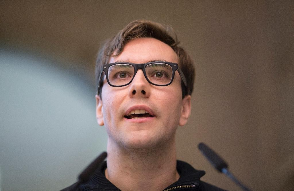 "US Internet activist Jacob Appelbaum, pictured on August 30, 2013, said a Hillary Clinton presidency was ""a very scary prospect"" (AFP Photo/Florian Schuh)"