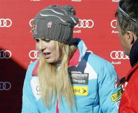 Vonn of the U.S. leaves after the Women's World Cup Downhill skiing race in Val d'Isere