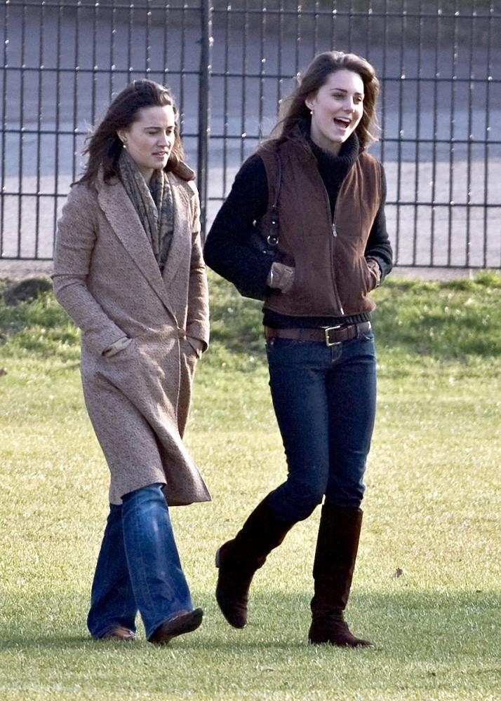 Kate and Pippa watched William play rugby in casual jeans and boots.